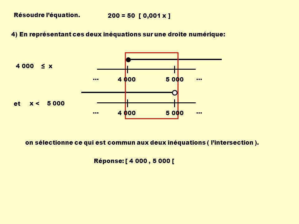 Résoudre l'équation. 200 = 50 [ 0,001 x ] 4) En représentant ces deux inéquations sur une droite numérique: